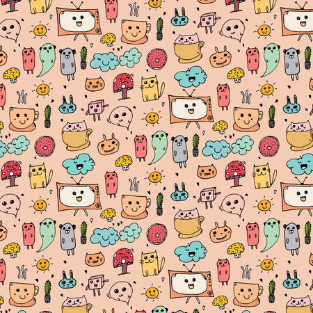 Pattern With Hand Drawn Doodle Lovely Background. Doodle Funny. Handmade Vector Illustration.