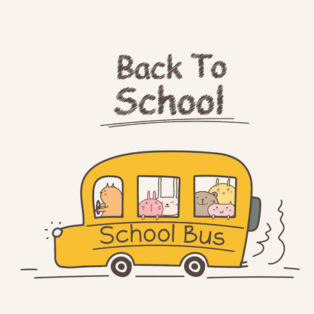 Back To School Concept With School Bus. Cute Animal Vector Illustration.