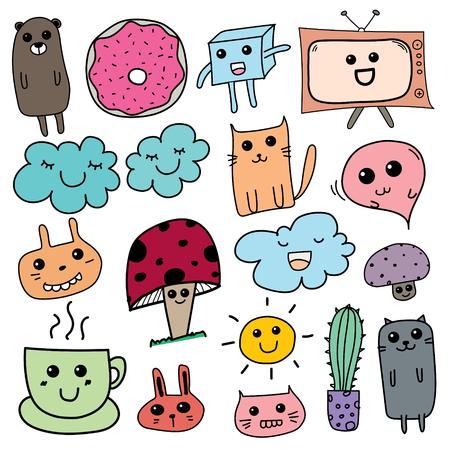 Kawaii Doodle For Kids. Hand Drawn Vector Illustration.