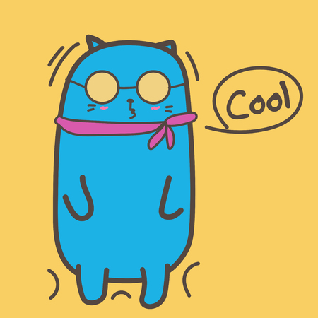 Cool Cat With Sunglasses. Vector Illustration.