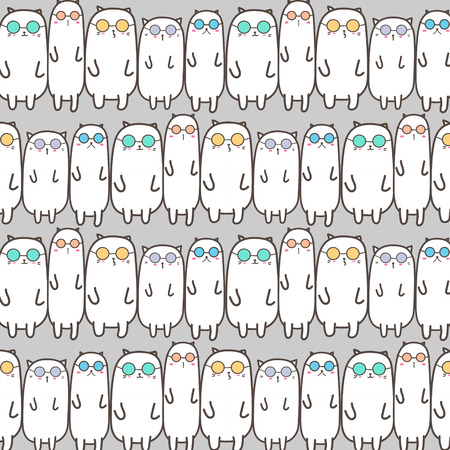 Cool Cats Vector Pattern Background. Handmade Vector Illustration.