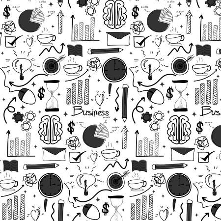 Pattern con sfondo di affari doodle disegnato a mano linea. Illustrazione vettoriale a mano.