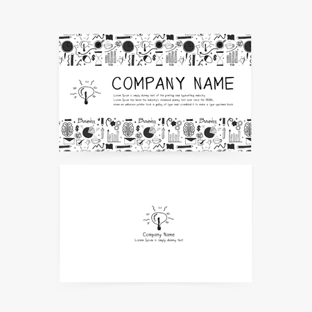 Business cards with hand drawn doodle business icons for your company.