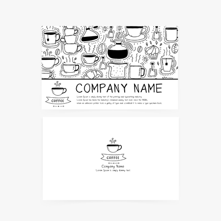 Business cards with hand drawn doodle coffee icons for coffee shop or restaurant. Illustration