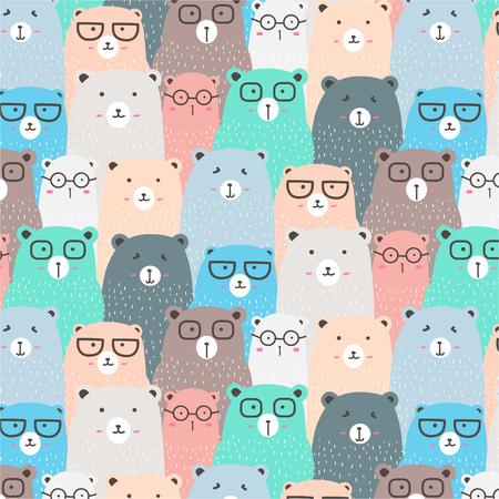 Hand Drawn Bears Vector Pattern Background. Fun Doodle. Handmade Vector Illustration.