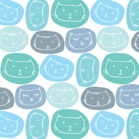 Hand Drawn Cute Cats Pattern Background. Vector Illustration. Ilustrace
