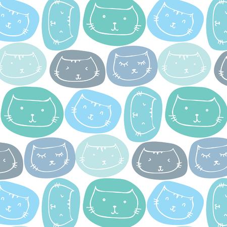Hand Drawn Cute Cats Pattern Background. Vector Illustration. Illustration