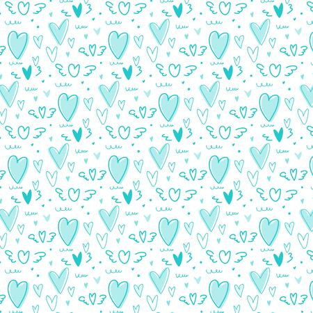 Hand drawn cute heart pattern background. Vector Illustration.