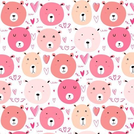 Cute bear pattern background. Vector illustration. Illusztráció