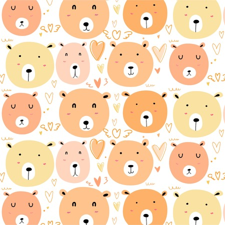 Cute bear pattern background. Vector illustration. Illustration