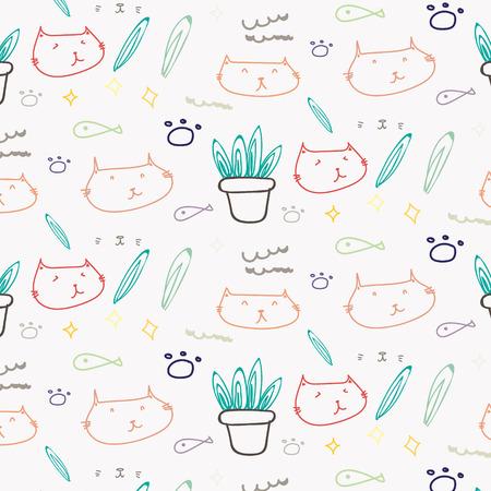 Cute cat doodle pattern background. Vector illustration. Illustration