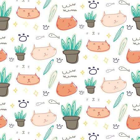 Cute cat doodle pattern background. Vector illustration. Illusztráció