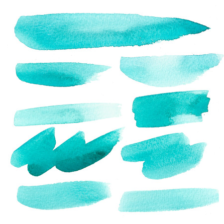 Set of watercolor brush strokes on white background.