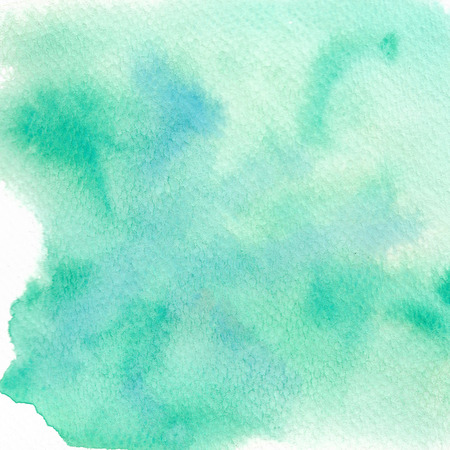 Green abstract watercolor background. Hand painted illustration. Stock Photo