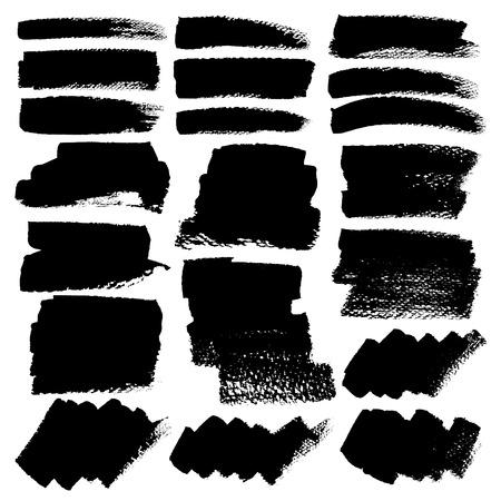 Set of brush stroke, Black ink grunge brush strokes. Vector illustration.