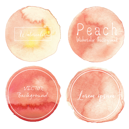 Peach watercolor background, Pastel watercolor, Vector illustration.