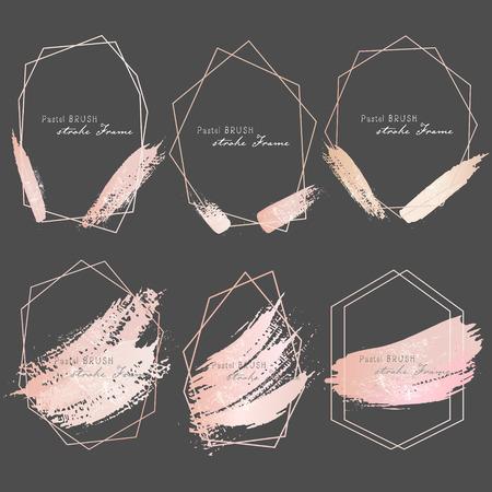 Pastel brush strokes frame. Vector illustration. Illustration