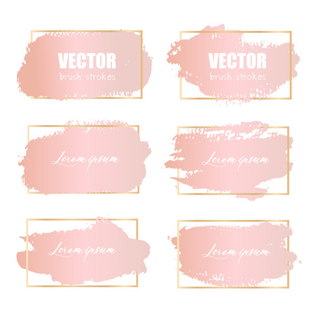 Rose pink brush stroke, Pink gold grunge brush strokes. Vector illustration. 일러스트