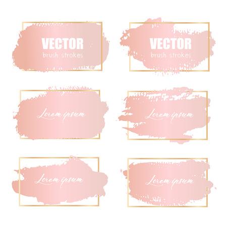 Trazo de pincel rosa, trazos de pincel grunge oro rosa. Ilustración de vector.