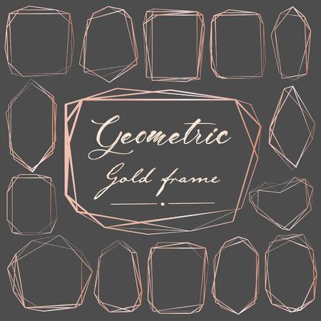Ensemble de cadre géométrique en or rose, élément décoratif pour carte de mariage, invitations et logo. Illustration vectorielle. Logo