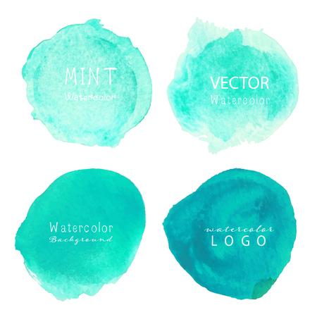 Mint aquarel achtergrond, pastel aquarel logo, vectorillustratie. Logo