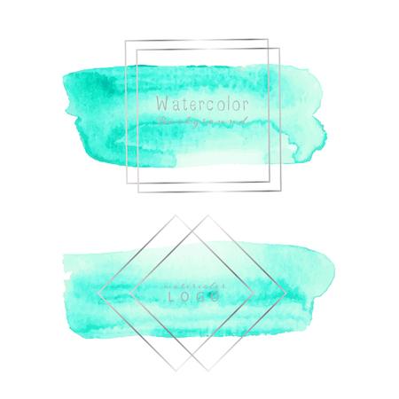 Mint watercolor background, Pastel watercolor logo, Vector illustration.