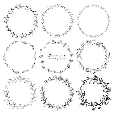 Conjunto de marco redondo botánico, flores dibujadas a mano, composición botánica, elemento decorativo para tarjeta de invitaciones, ilustración vectorial. Ilustración de vector