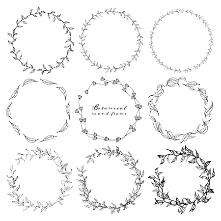 Set di cornice rotonda botanica, fiori disegnati a mano, composizione botanica, elemento decorativo per inviti, illustrazione vettoriale. Vettoriali