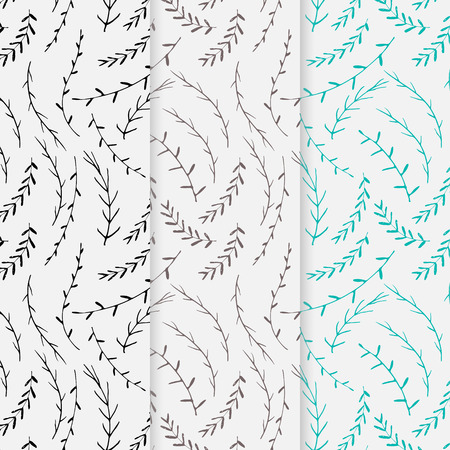 Hand drawn botanical pattern background, Floral decorative pattern, Vector illustration.