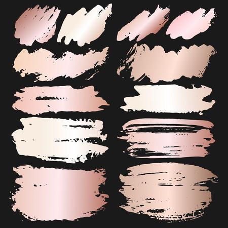 Rose pink brush stroke, Pink gold grunge brush strokes. Vector illustration. Ilustrace