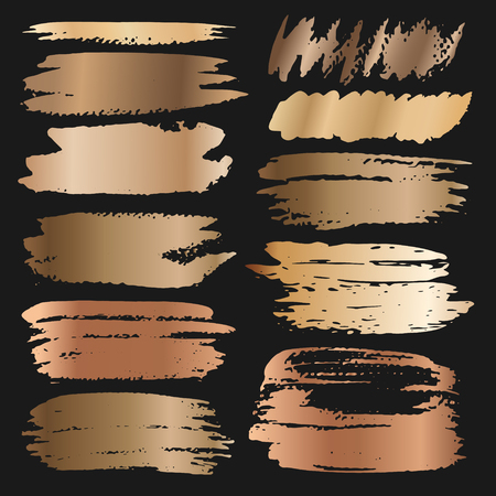 Golden brush stroke, Gold grunge brush strokes. Vector illustration.