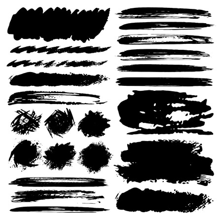Set of brush stroke,  Black ink grunge brush strokes. Vector illustration. Ilustrace