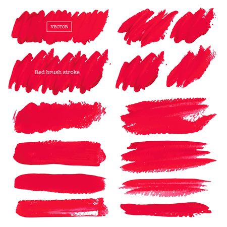 Red brush stroke isolated on white background, Vector illustration.