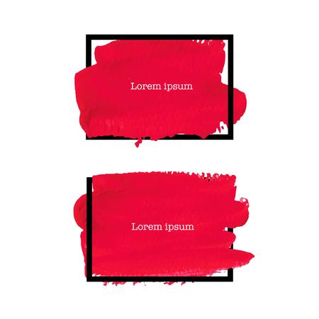 Red brush stroke frame isolated on white background, Vector illustration. Ilustrace