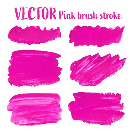 Pink brush stroke isolated on white background, Vector illustration.