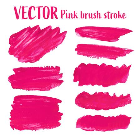 Pink brush stroke isolated on white background, Vector illustration. Vecteurs