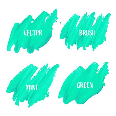 Green brush stroke isolated on white background, Vector illustration.