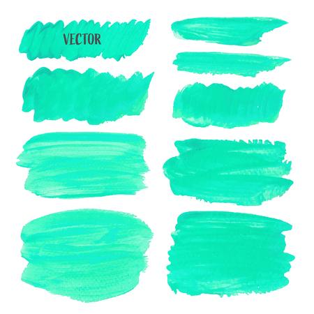 Pennellata verde isolato su sfondo bianco, illustrazione vettoriale.