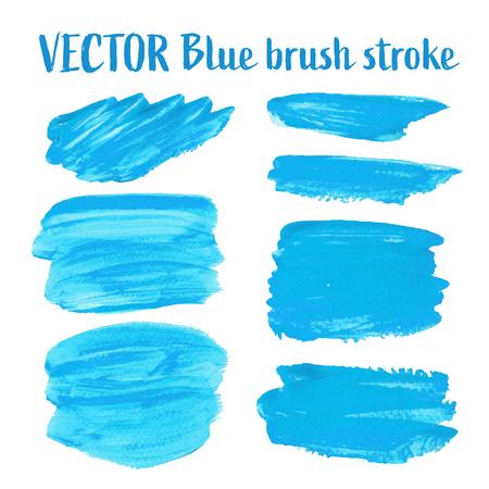 Blue brush stroke isolated on white background, Vector illustration.