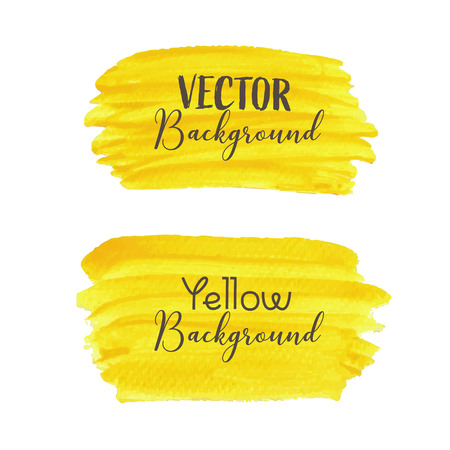Yellow brush stroke isolated on white background, Vector illustration.