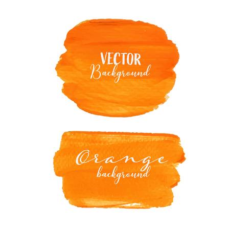 Orange brush stroke isolated on white background, Vector illustration.
