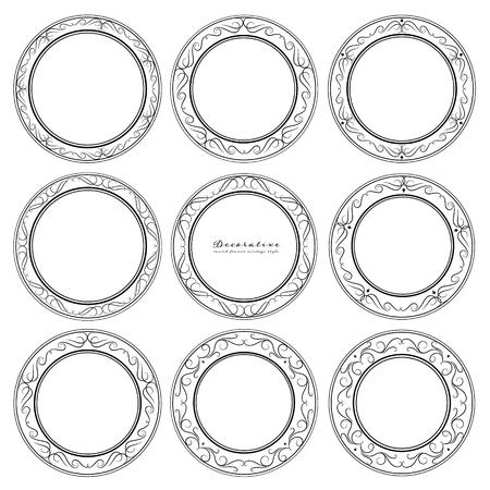 Set of decorative round frames vintage style. Vector illustration.