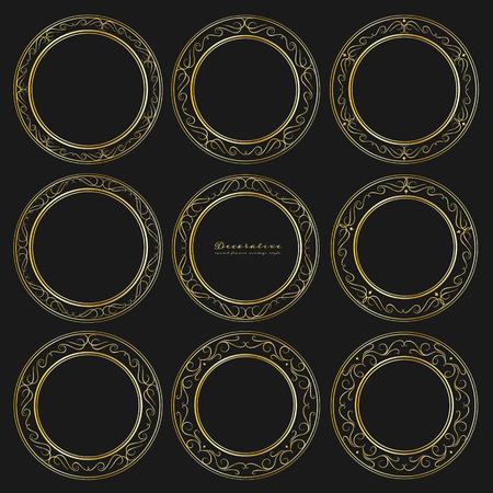 Set of golden decorative round frames vintage style. Vector illustration.