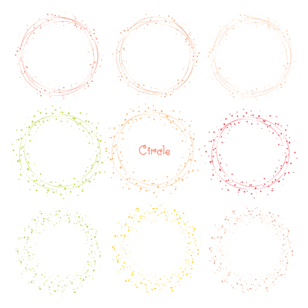 Collection of decorative round frames. Vector illustration.