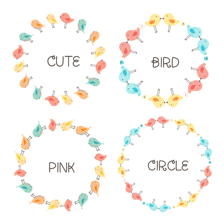 Vector Set Of Cute Bird Round Frames For Decoration. Vector Illustration. Illustration