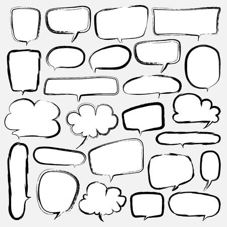 Bubbles Set Doodle Style Comic Balloon, Cloud Shaped Design Elements. Vector Illustration.