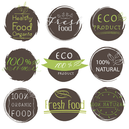 Set of banner ECO product, Natural, Vegan, Organic, Fresh, Healthy food. Vector illustration. Standard-Bild - 115080639