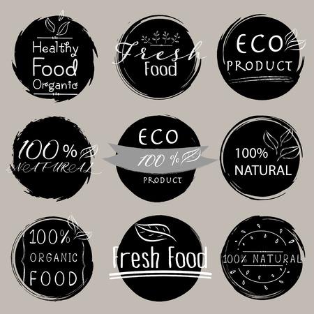 Set of banner ECO product, Natural, Vegan, Organic, Fresh, Healthy food. Vector illustration.