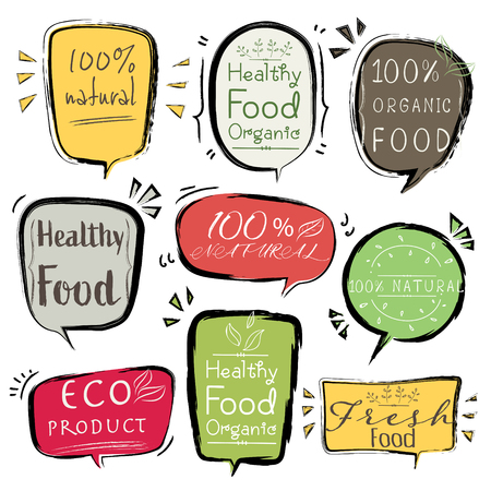Set of banner ECO product, Natural, Vegan, Organic, Fresh, Healthy food. Vector illustration. Standard-Bild - 115080658