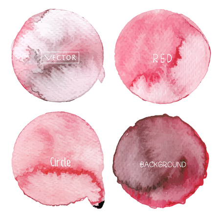 Red watercolour circle set on white background, Watercolor logo, Vector illustration.